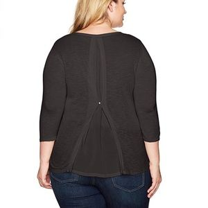 Lucky Brand Black Top with Back Pleat Detail